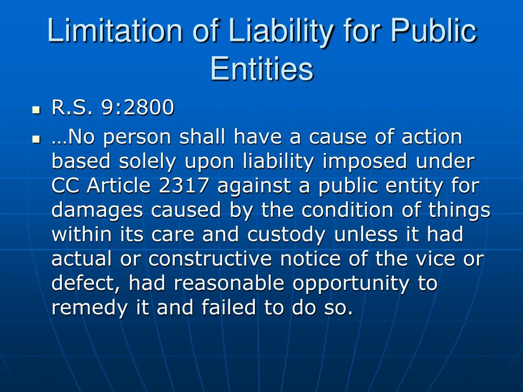 Limitation of Liability for Public Entities