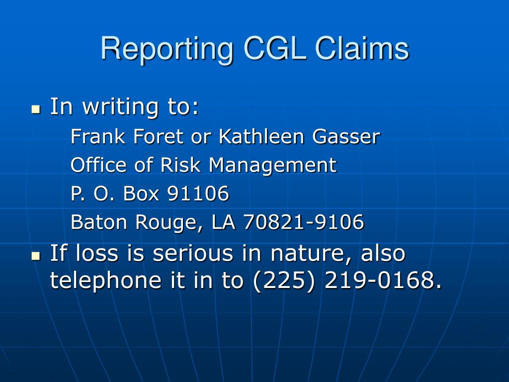 Reporting CGL Claims
