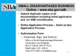 small disadvantaged business online www sba gov sdb