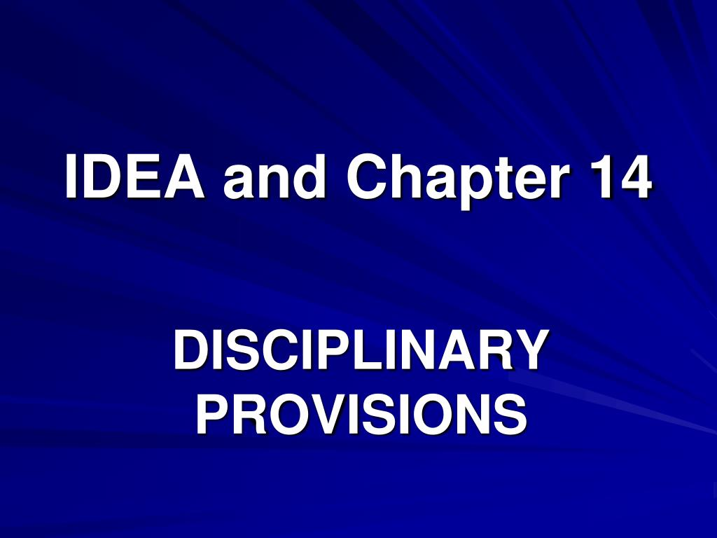 IDEA and Chapter 14