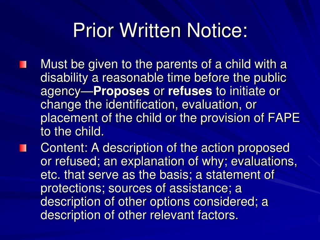 Prior Written Notice: