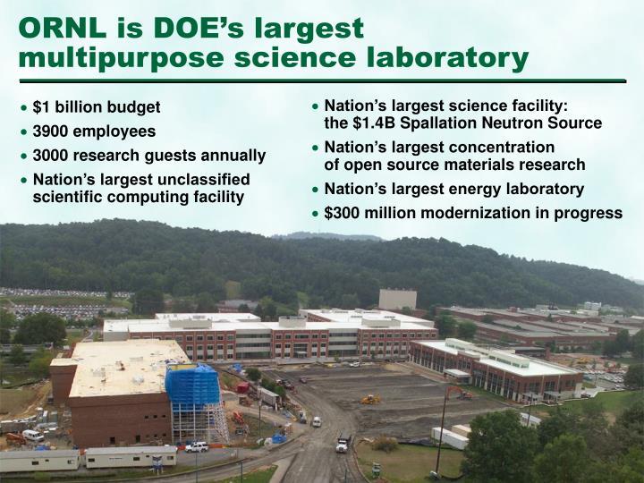 Ornl is doe s largest multipurpose science laboratory