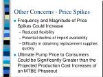 other concerns price spikes