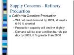 supply concerns refinery production