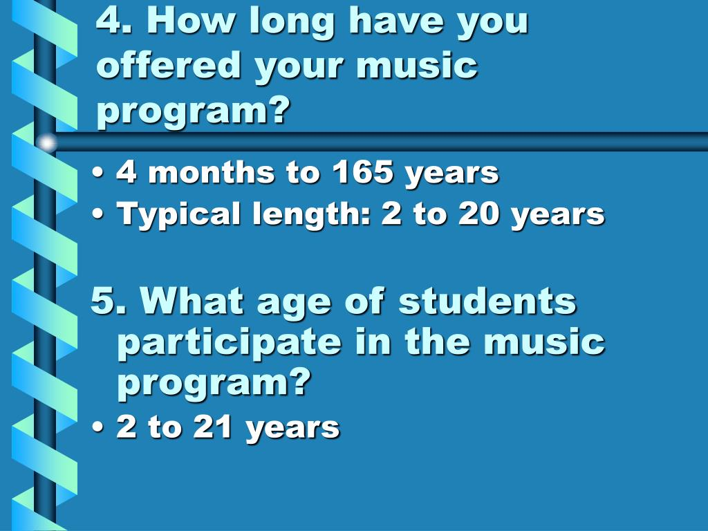 4. How long have you offered your music program?