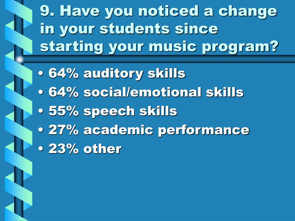 9. Have you noticed a change in your students since starting your music program?