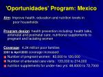 oportunidades program mexico