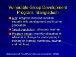 vulnerable group development program bangladesh