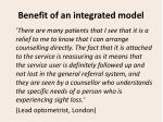 benefit of an integrated model