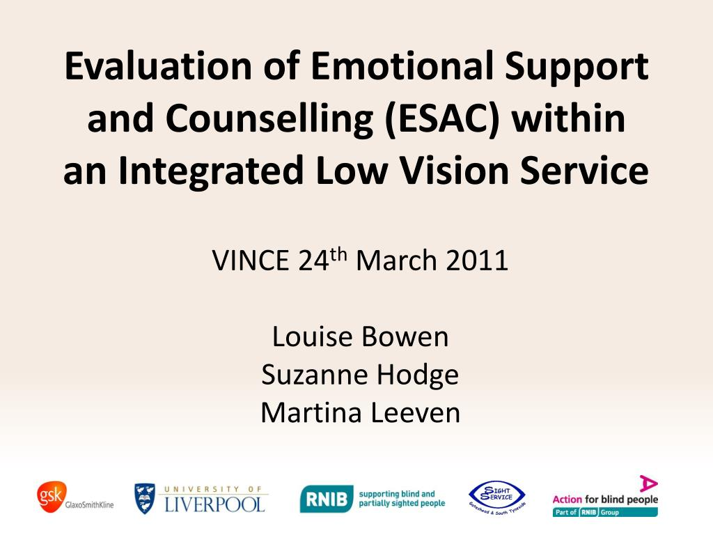 evaluation of emotional support and counselling esac within an integrated low vision service l.