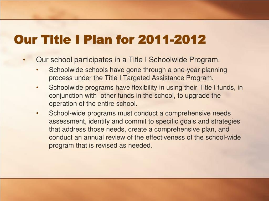 Our Title I Plan