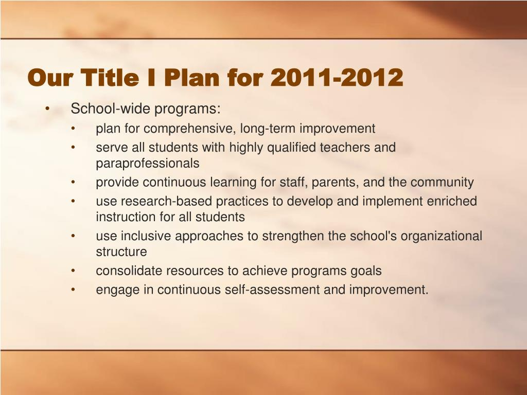 Our Title I Plan for 2011-2012