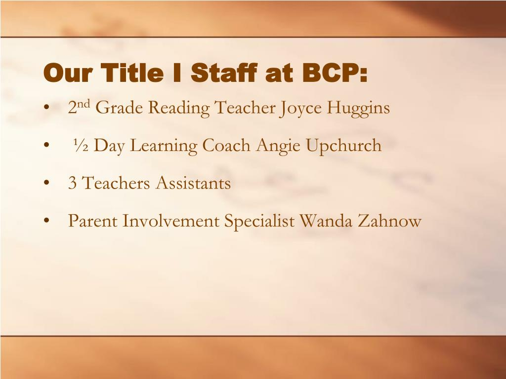 Our Title I Staff at BCP: