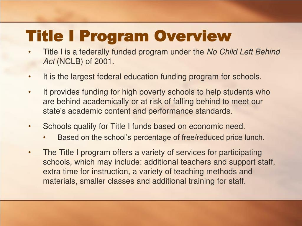 Title I Program Overview