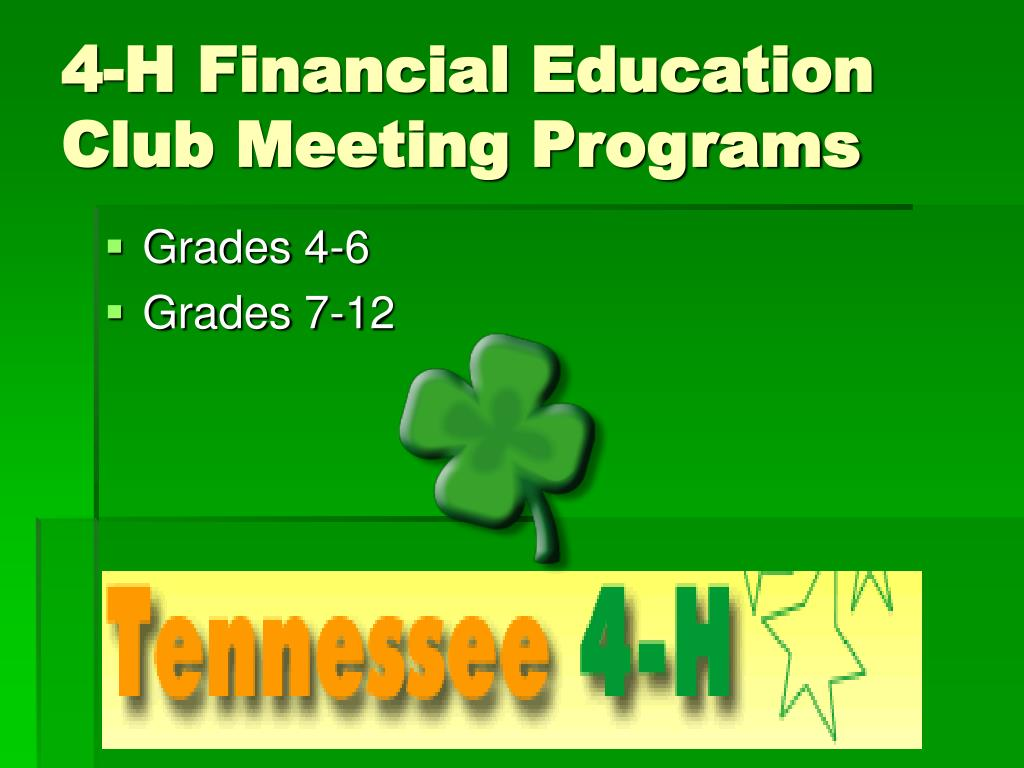 4-H Financial Education Club Meeting Programs