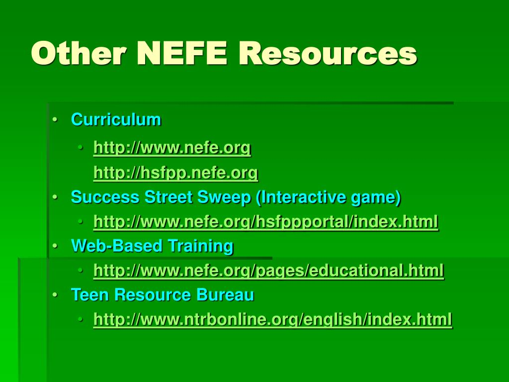 Other NEFE Resources
