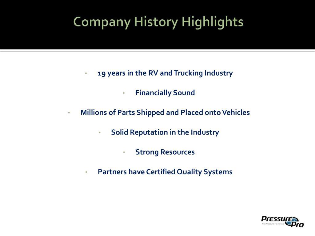 Company History Highlights