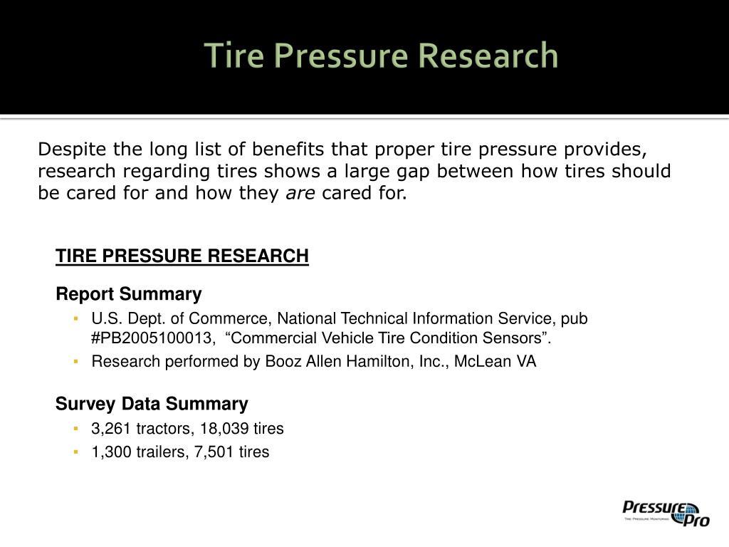 Tire Pressure Research