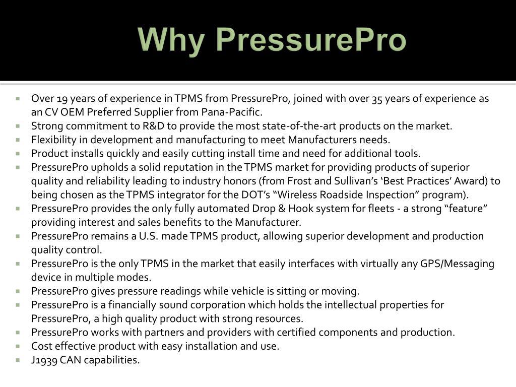 Why PressurePro