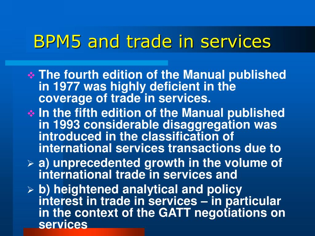 BPM5 and trade in services