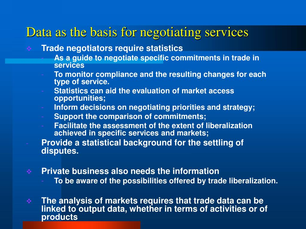 Data as the basis for negotiating services