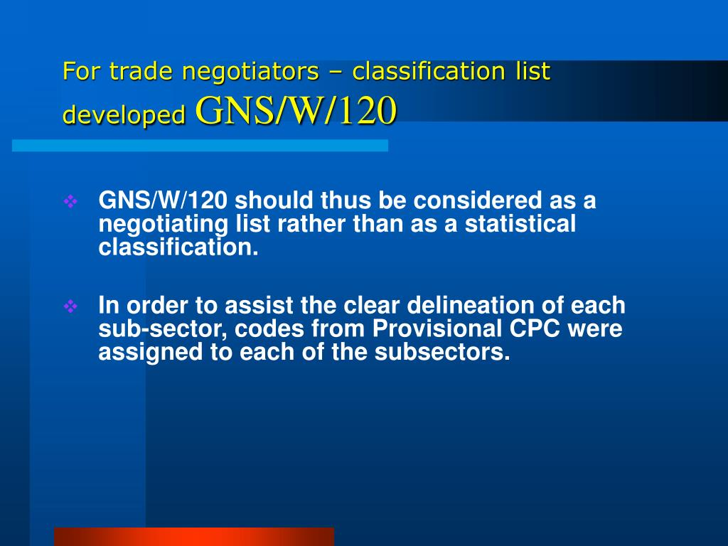 For trade negotiators – classification list developed
