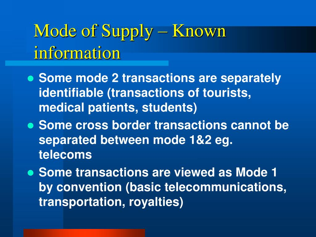 Mode of Supply – Known information