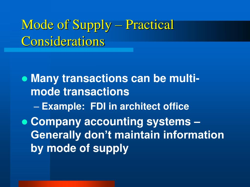 Mode of Supply – Practical Considerations