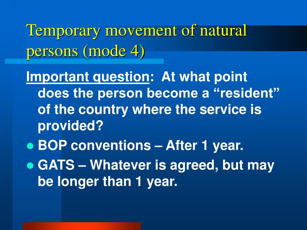 Temporary movement of natural persons (mode 4)