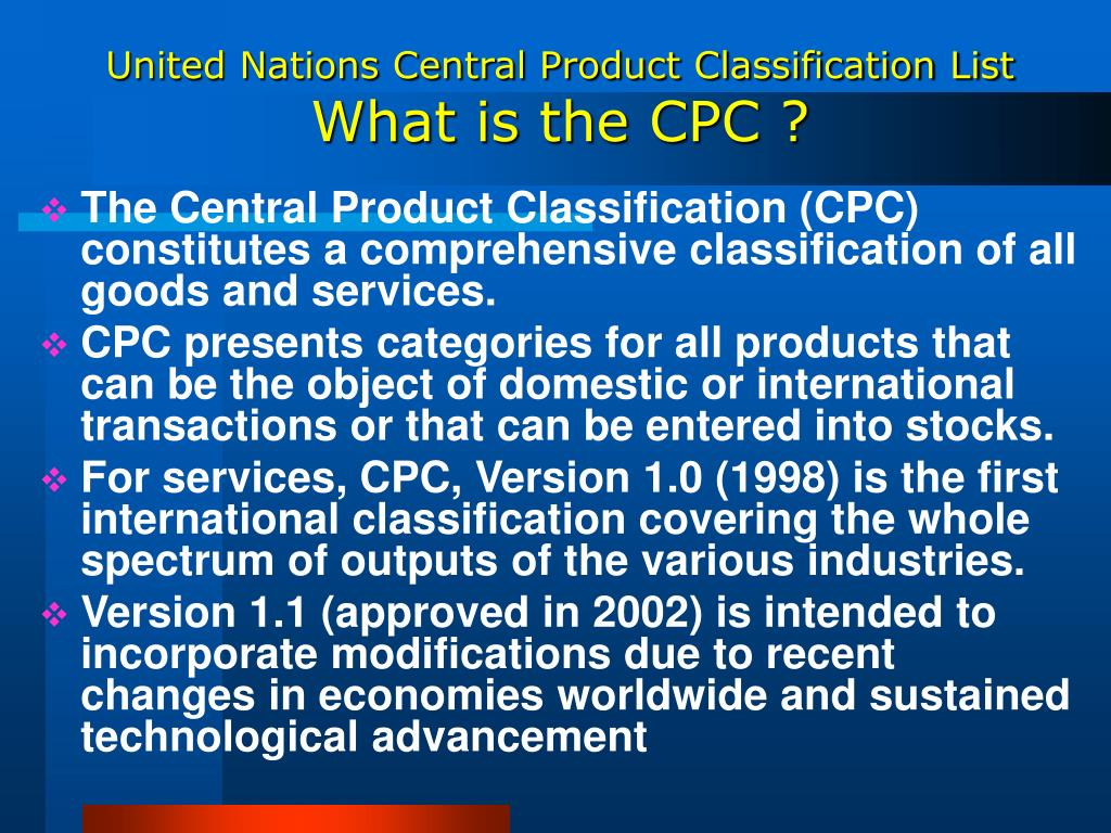 United Nations Central Product Classification List