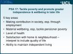 psa 17 tackle poverty and promote greater independence wellbeing in later life