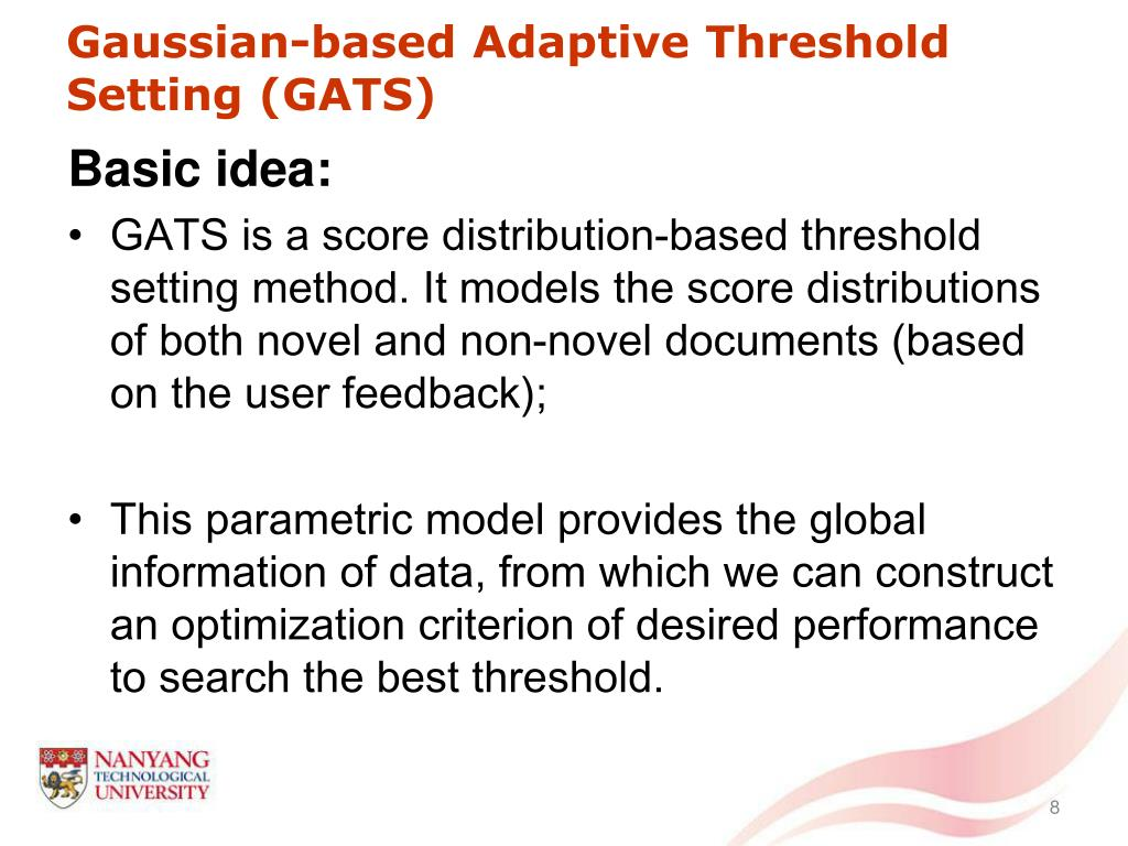 Gaussian-based Adaptive Threshold Setting (GATS)