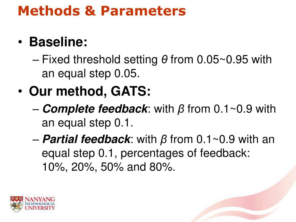 Methods & Parameters