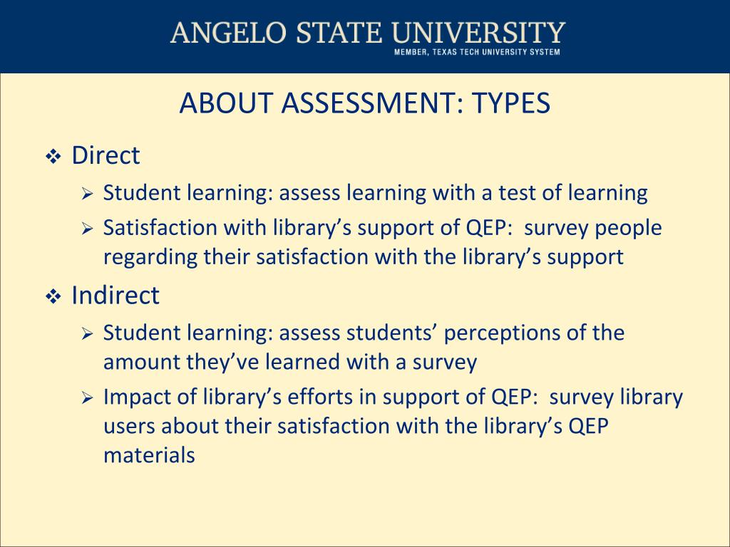 ABOUT ASSESSMENT: TYPES