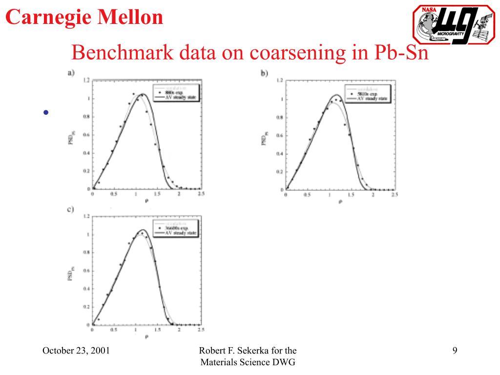 Benchmark data on coarsening in Pb-Sn