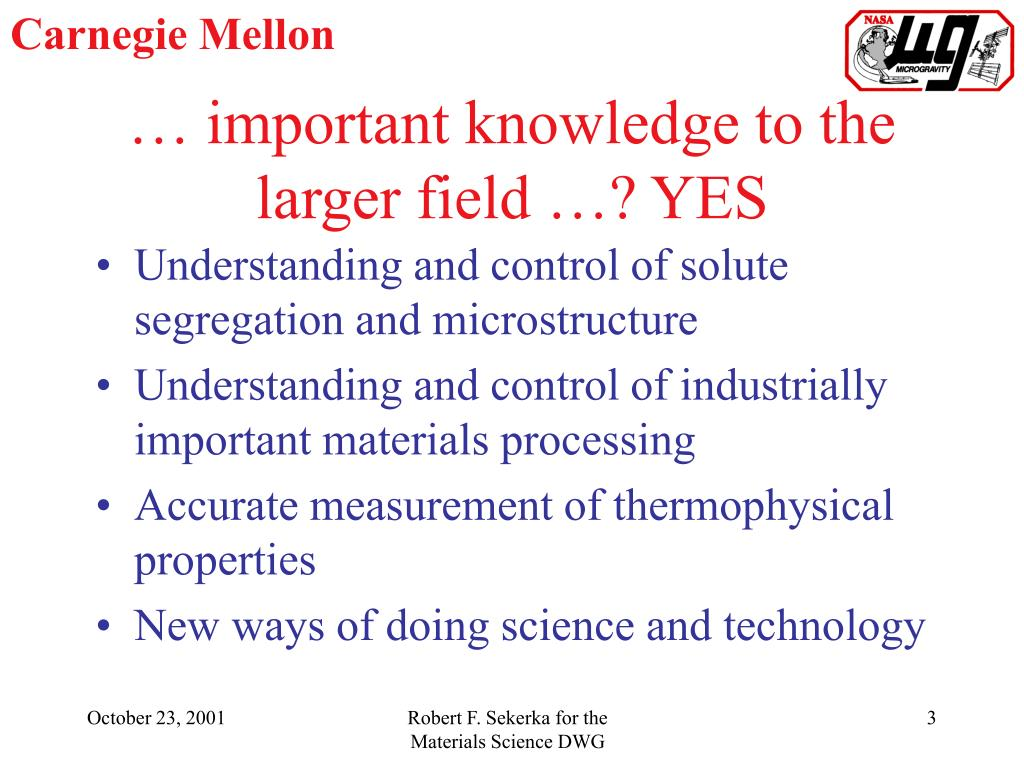 … important knowledge to the larger field …? YES