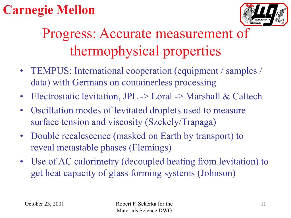 Progress: Accurate measurement of thermophysical properties