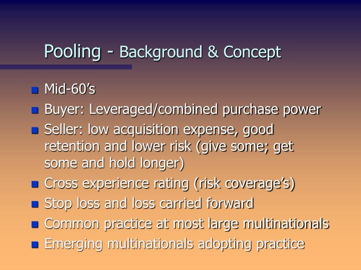 Pooling background concept