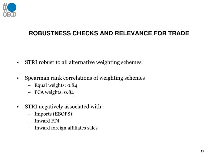 ROBUSTNESS CHECKS AND RELEVANCE FOR TRADE