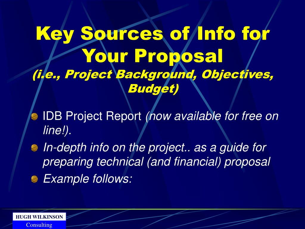 Key Sources of Info for Your Proposal