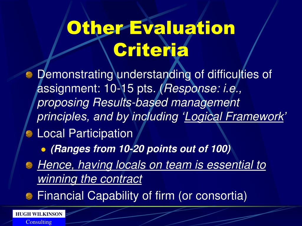 Other Evaluation Criteria