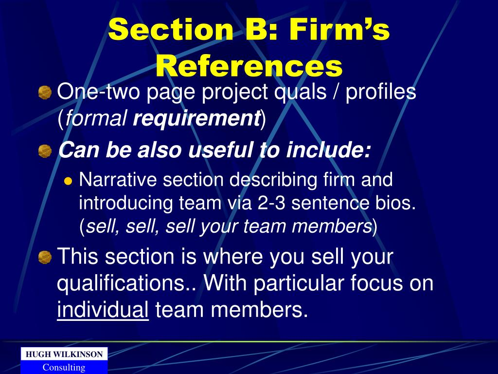 Section B: Firm's References