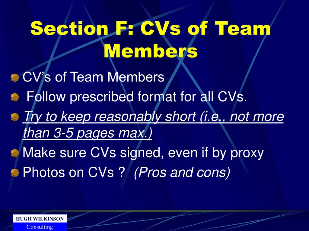 Section F: CVs of Team Members