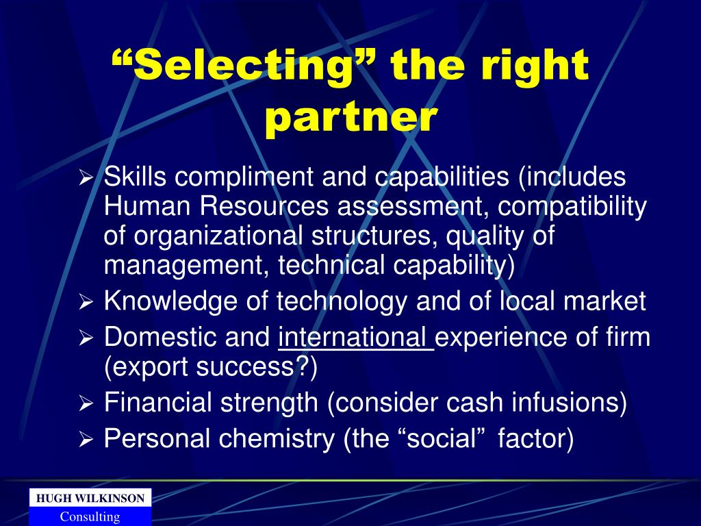 """Selecting"" the right partner"