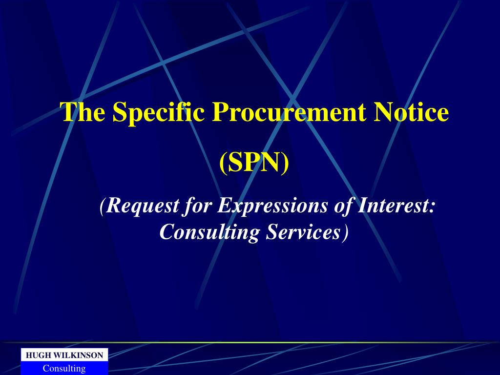 The Specific Procurement Notice