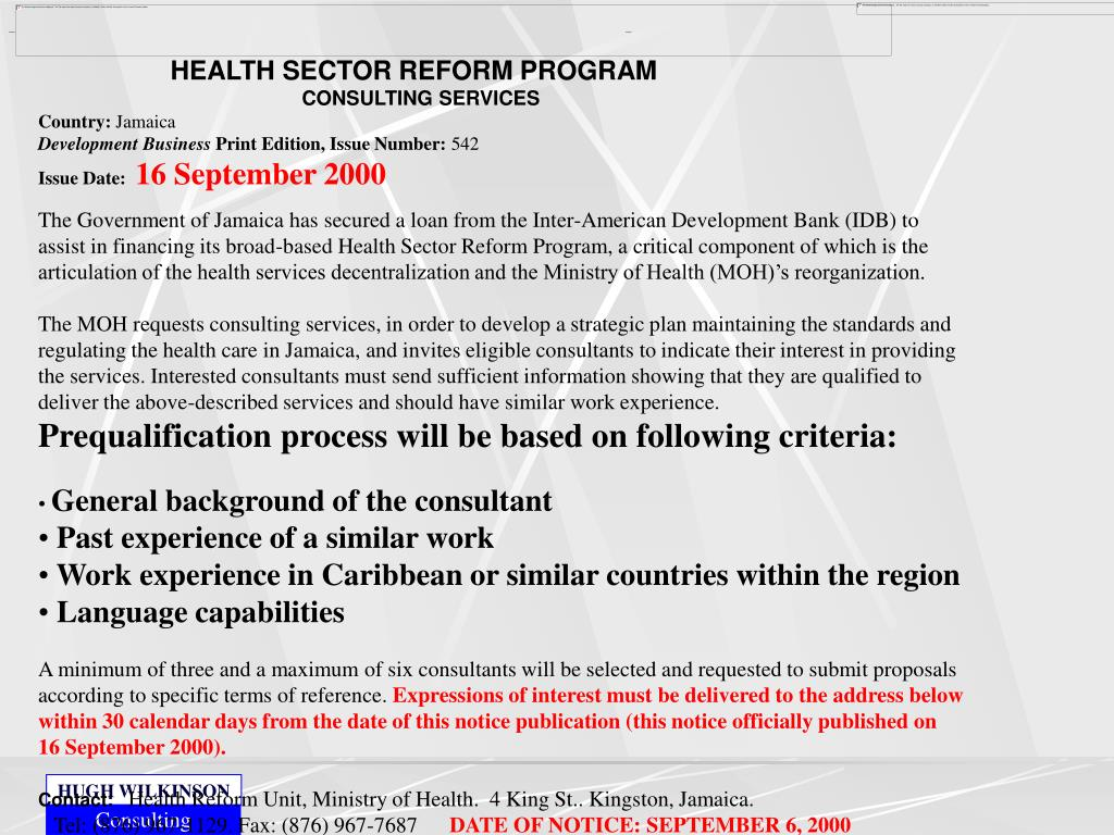 HEALTH SECTOR REFORM PROGRAM