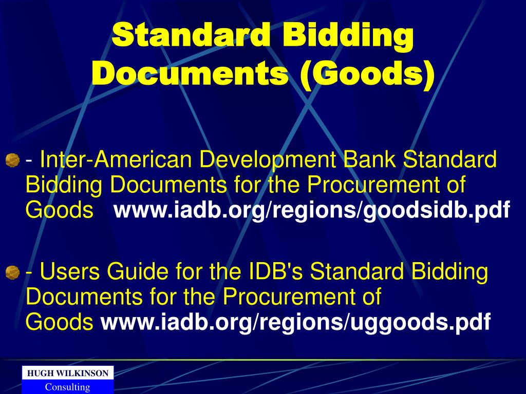 Standard Bidding Documents (Goods)