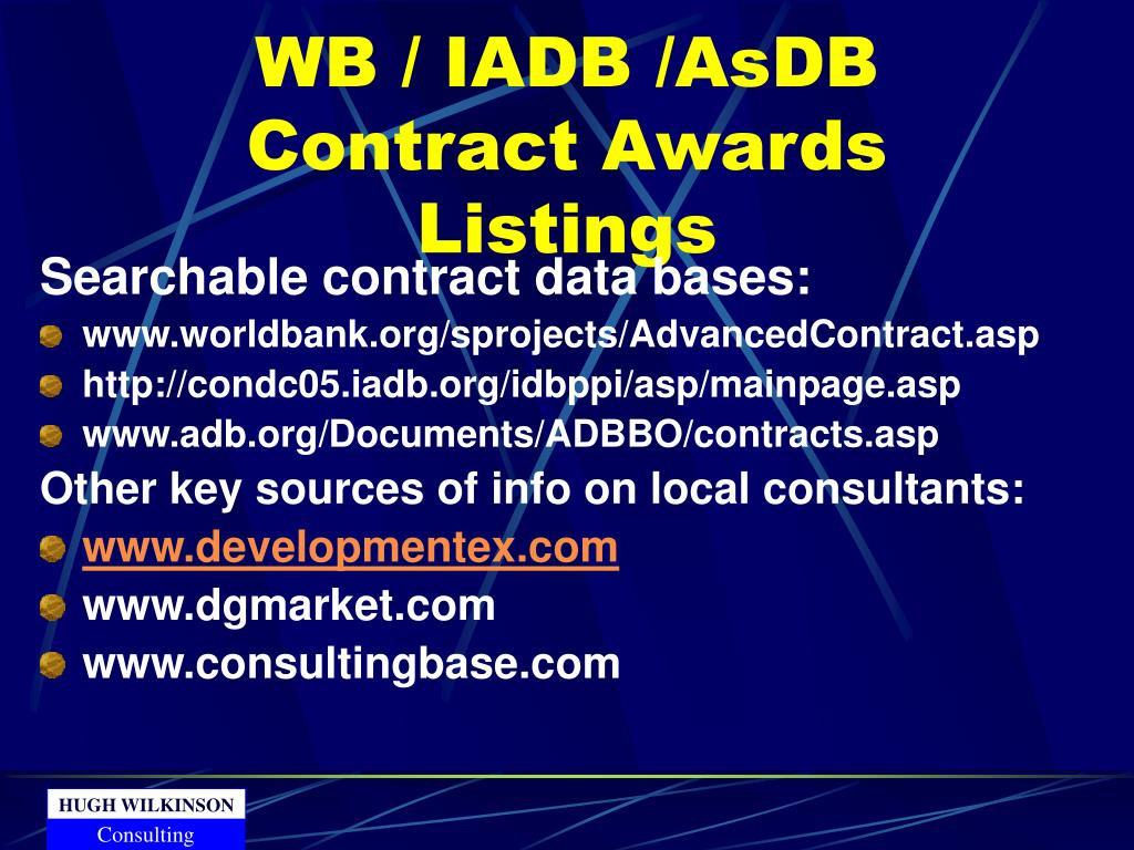 WB / IADB /AsDB Contract Awards Listings