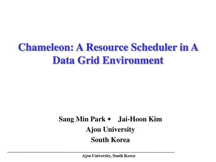 Chameleon a resource scheduler in a data grid environment