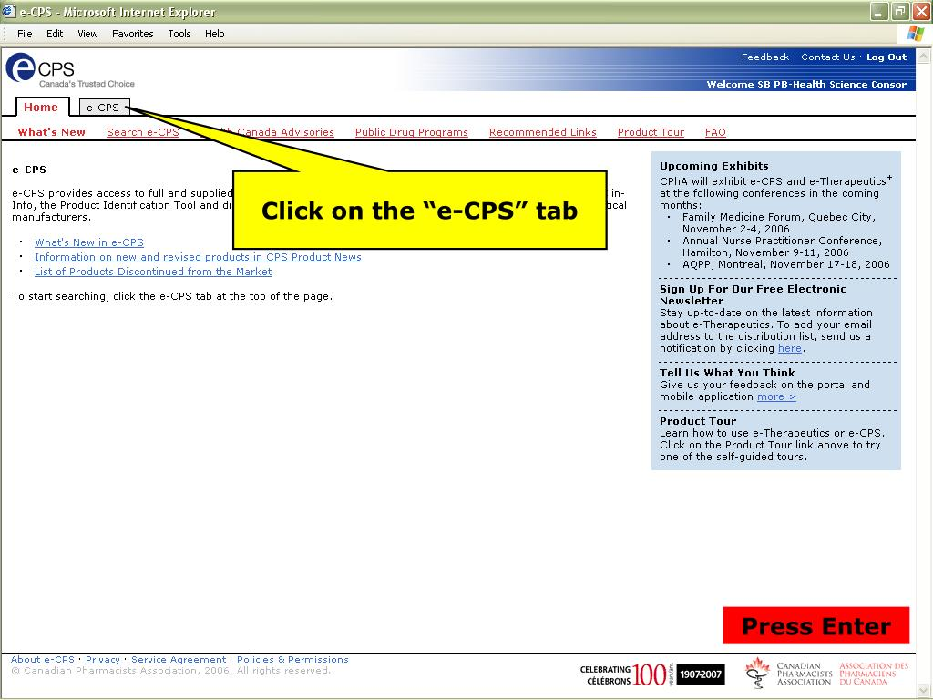 "Click on the ""e-CPS"" tab"